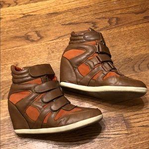 Cognac and Orange Hidden Wedge Shoes size 9